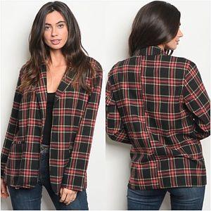 Jackets & Blazers - Perfect Plaid Blazer Jacket With Pockets S